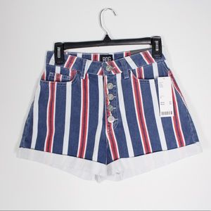 New Urban Outfitters striped high waisted shorts